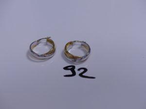 2 Créoles en or bicolore. PB 3,8g