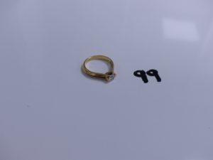 1 Solitaire en or serti-griffes un diamant taille brillant entre 0,20 et 0,25ct (td51). PB 3,7g