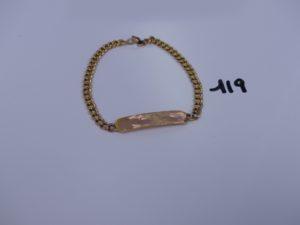 1 bracelet gourmette en or 21K (identité vierge, fermoir 18k et L21cm). PB 17,9g