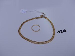 1 chaîne maille gourmette en or (L55cm, sécurité en métal) et 1 alliance cassée en or. PB 11,3g