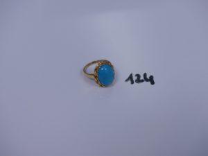 1 bague en or ornée d'une pierre couleur turquoise (td54). PB 5,2g