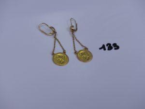 1 paire de pendants enor ornés d'une pièce de 2 pesos. PB 6,9g