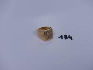 """1 chevalière en or initiales gravés """"FJ"""" (td61). PB 9,1g"""