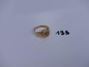 """1 chevalière en or initiales gravées """"JL"""" (un peu cabossée et td61). PB 4,2g"""