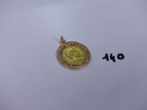 1 pendentif ouvragé en or serti-griffes 1 pièce de 20frs 1857A. PB 9,1g
