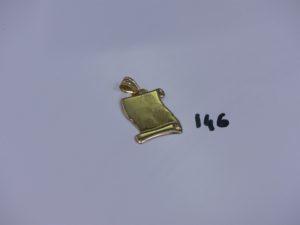 1 pendentif plaque en or photo imprimée (belière à souder). PB 2,9g