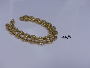 1 collier maille grain de café en or (L60cm). PB 71,2g