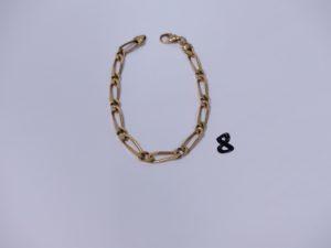 1 bracelet maille alternée en or (L20cm). PB 14,8g