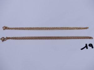 2 chaînes maille forçat en or (L54cm). PB 6,1g