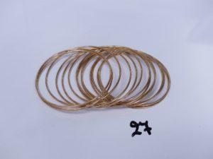 14 bracelets en or (diamètre 6,5cm). PB 76,9g