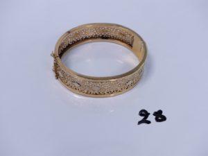 1 bracelet rigide ouvrant en or monture ajourée (diamètre 5/5,5cm). PB 24,6g