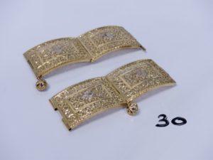 2 morceaux de ceinture en or. PB 39,2g