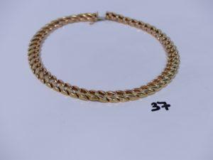 1 collier maille gourmette bicolore en or (L40cm, maillon à fixer). PB 63,7g