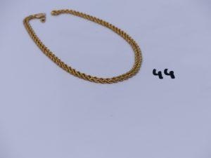 1 chaîne maille corde en alliage 14K (L64cm). PB 4,5g