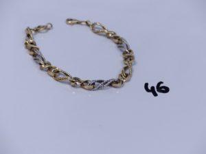 1 bracelet maille torsadée bicolore en alliage 14K (L20cm). PB 6,3g