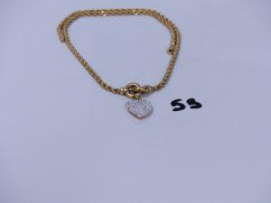 1 collier maille corde en alliage 9K motif central à décor d'un coeur orné de strass (L44cm). PB 8,1g