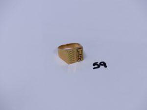 1 chevalière en or initiales TS gravées (Td64). PB 12,6g