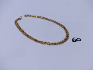 1 chaîne maille grain de café en or (L60cm). PB 17,8g