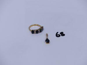 1 bague en or ornée de 4 petites pierres et 8 petits diamants (Td54) et 1 pendentif en or orné d'une pierre et d'un petit diamant. PB 4,7g