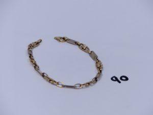 1 bracelet maille alternée grain de café plate et étrier (fermoir à fixer,L20cm). PB 13g
