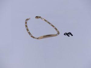 1 bracelet en or identité gravée (L17cm). PB 5,7g