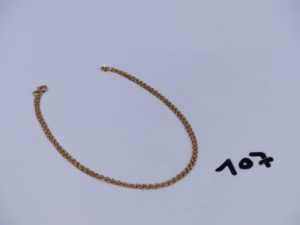 1 chaîne maille forçat en or (L38cm). PB 3,6g