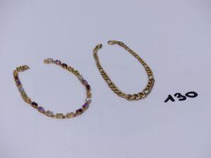 2 bracelets en or (1 maille alternée L19cm)(1 orné de pierres de couleur L18cm). PB 5,4g