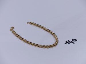 1 bracelet maille jaseron en or (L20cm). PB 8,2g