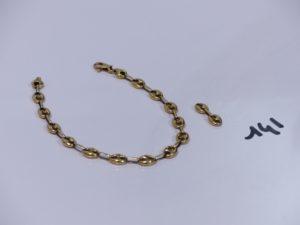 1 bracelet maille grain de café en or (L18cm) et 2 maillons en or. PB 7,6g
