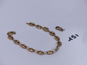 1 bracelet maille grain de café cassé en or. PB 8,5g (+ 1 fermoir en métal)