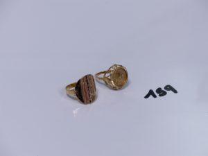 2 bagues ouvragées en or (Td53/54). PB 6,2g