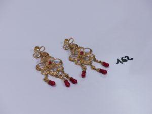 2 pendants en or à décor floral petites perles baroques en pampille. PB 22,7g
