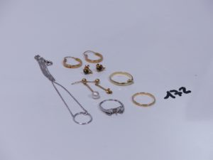 1 lot casse tout or (1 petite perle). PB 7,9g et 1 bague serpent en alliage 14K (Td56). PB 1,6g