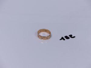 1 alliance en alliage 14 K orné de petits diamants (Td57). PB 3,7g