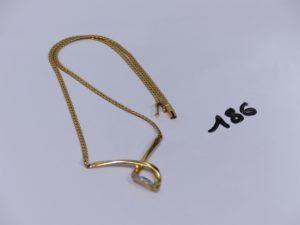 1 collier maille anglaise en or motif central bicolore orné d'un rang de petits diamants (L36cm). PB 12,1g