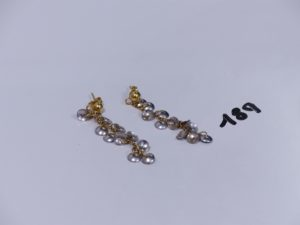 2 pendants en or à décor de motifs bicolores en pampilles. PB 6,6g