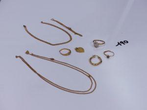 1 lot casse or et petites pierres (chaînes, bagues, pendentif, boucle). PB 19,2g