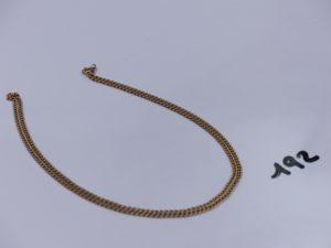 1 chaîne maille gourmette en or (L58cm). PB 8,8g