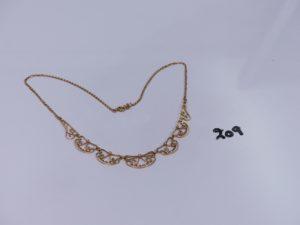 1 collier draperie en or (L28cm). PB 9,3g