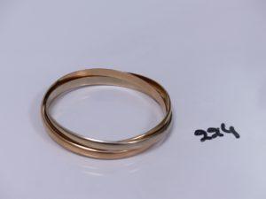 1 bracelet 3 brins 3 ors (diamètre 6cm). PB 67,2g