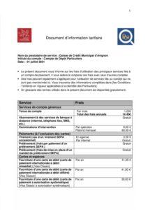 Document d'information tarifaire au 1er juillet 2021