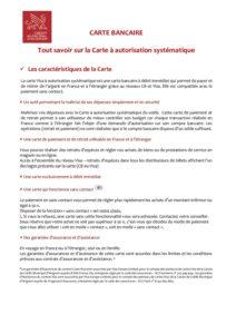 Présentation de la Carte Visa à autorisation systématique