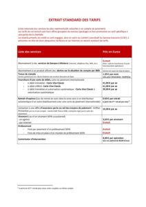 extrait standard des tarifs au 1er juillet 2021