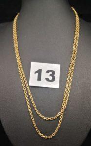 1 Sautoir en or maille forçat (L 82cm). PB 15,6g