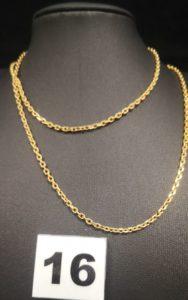 1 Chaîne en or maille forçat (L 65cm). PB 13,1g