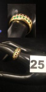 """1 Bague en or """"tutti frutti"""" ornée de pierres de 3 couleurs et petits diamants disposés en mosaïque (TD 61). PB 3,8g"""