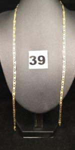 1 Chaîne en or maille marine stylisée bicolore (L 50cm sans fermoir). PB 8,8g
