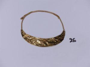 1 collier maille jaseron en or motif central martelé et articulé (L35cm). PB 12,1g