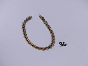 1 bracelet maille fantaisie en or (L19cm, manque breloque). PB 9,4g
