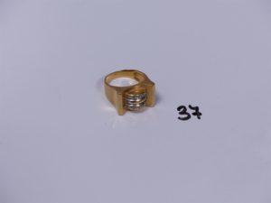 1 bague Tank en or ornée de 2 rangs de petits diamants (Td54). PB 10,4g